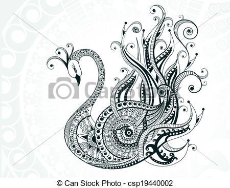 Vector Clipart of Beautiful abstract swan.
