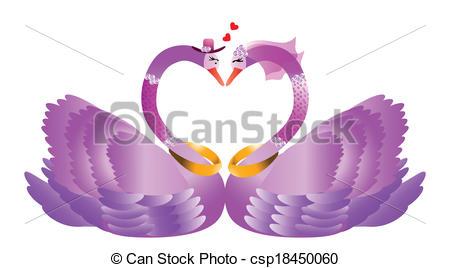 Clip Art Vector of Romantic swan couple.