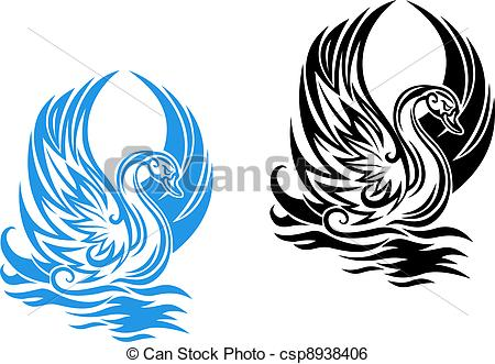 Clip Art Vector of Swimming swan.