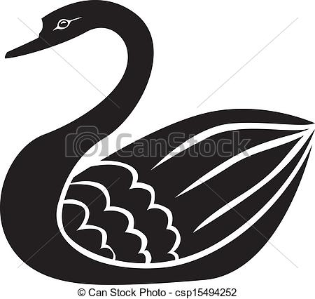 Clipart Vector of Swan silhouette.