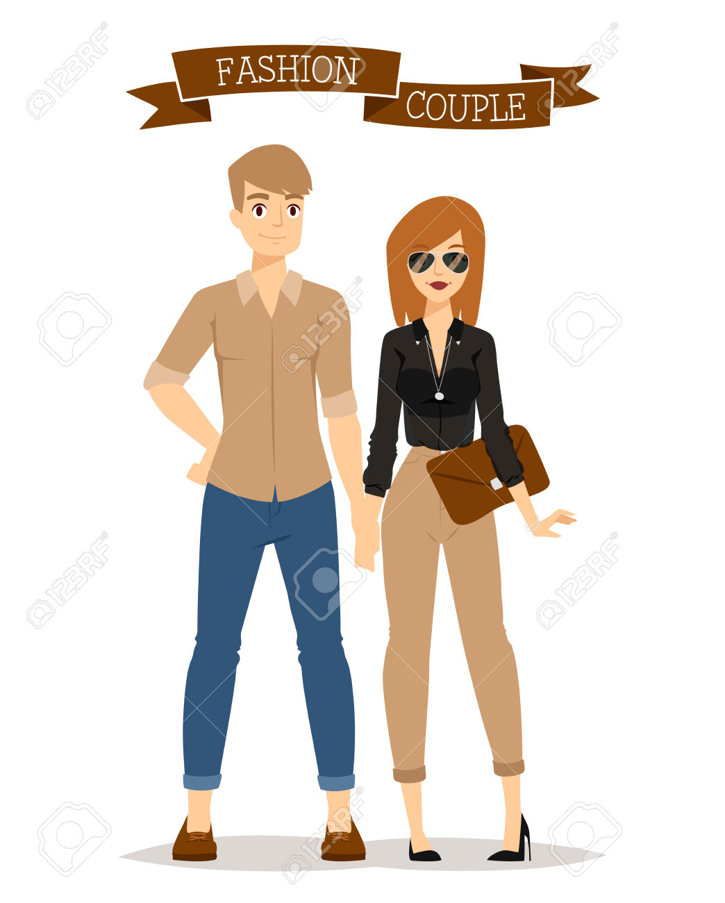 Beautiful Cartoon Couple Fashion Clothes Models Look Standing.