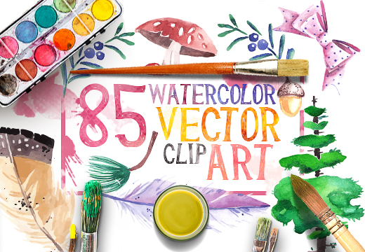 85 Beautiful Watercolor Vector Clip Art with an Artistic Look.