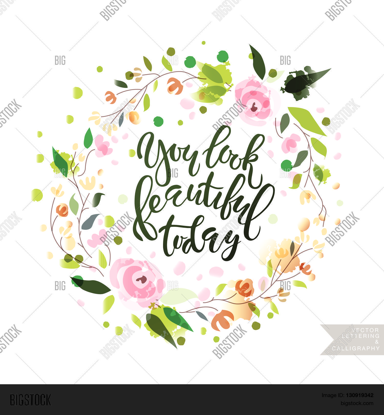 Inspirational Quote 'you Look Beautiful Today'. Stock Vector.