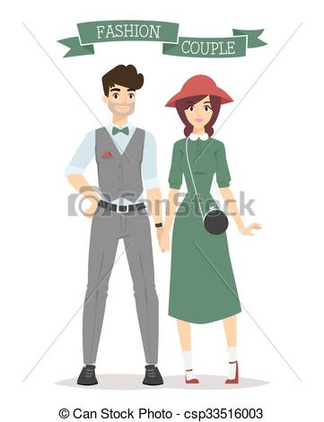 Vector Clipart of Beautiful vector cartoon couple fashion clothes.