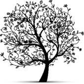 Clip Art of Art tree beautiful, black silhouette k3960846.