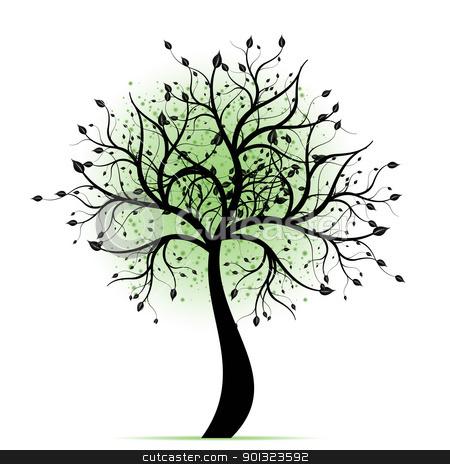 Beautiful art tree stock vector.