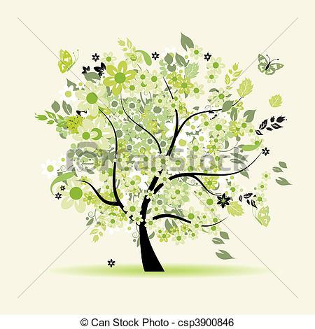 Clip Art Vector of Floral tree beautiful csp3900846.