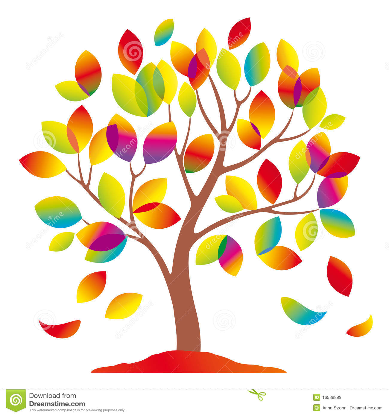 Beautiful Colorful Tree. Royalty Free Stock Images.