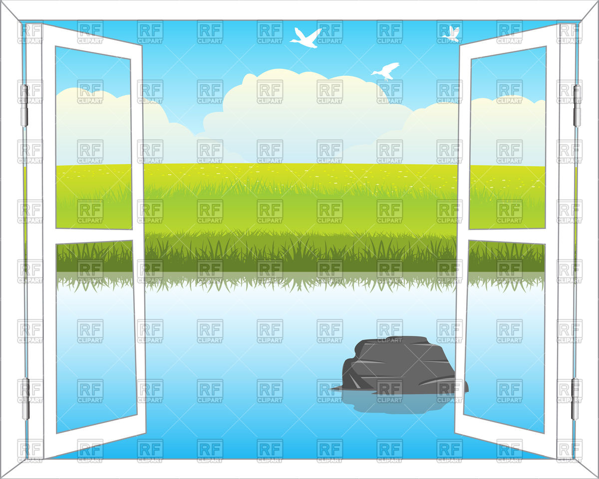 Open window with view on beautiful yard landscape Vector Image.