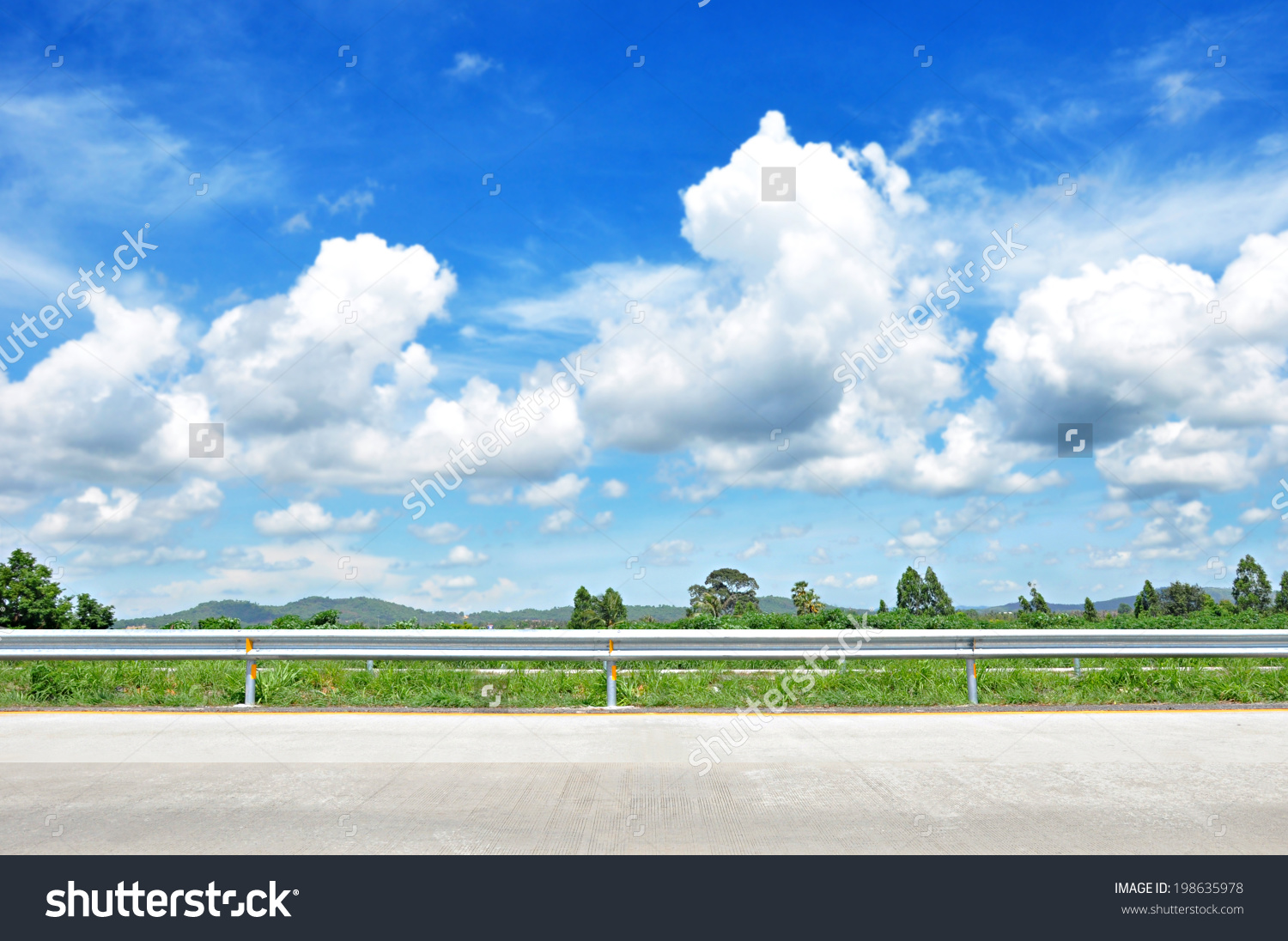 Empty road side view clipart.
