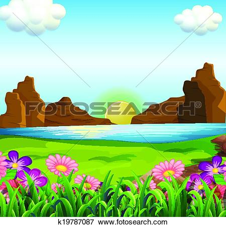 Clip Art of A view of the river and the beautiful flowers.