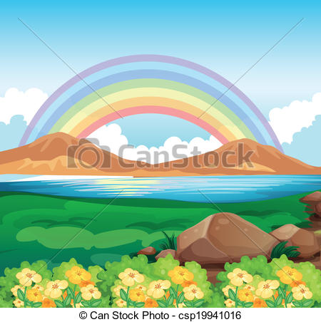 Clipart Vector of A view of the beautiful river.