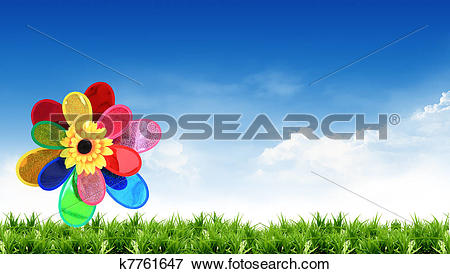 Picture of colorful windmill with beautiful views k7761647.