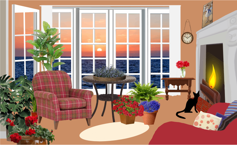 Free Beautiful Living Room Clip Art.