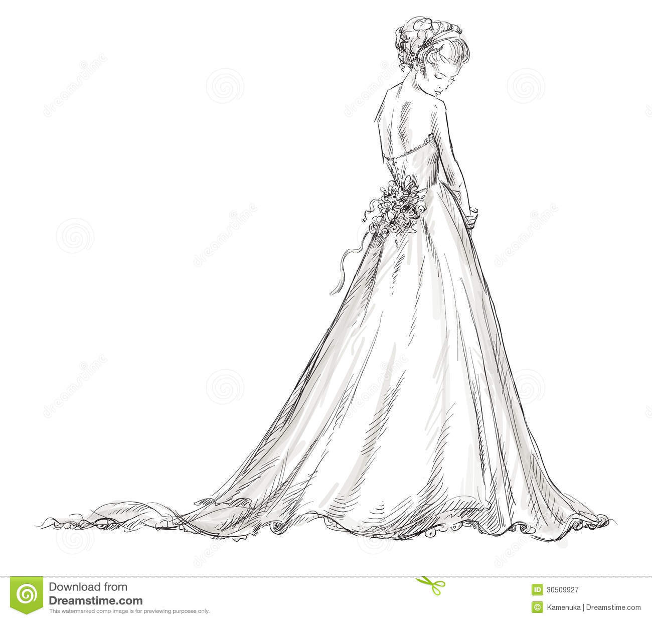 Women in wedding dress clipart.