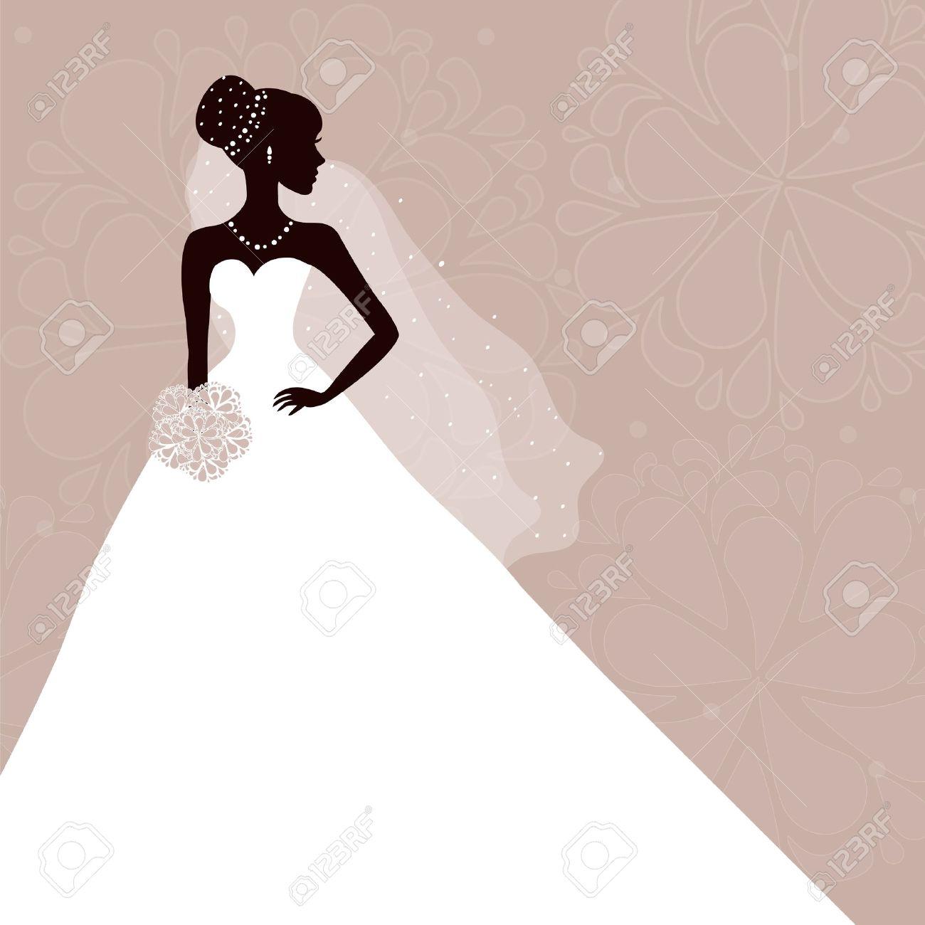 Wedding dress silouhette on purple backdrop clipart.