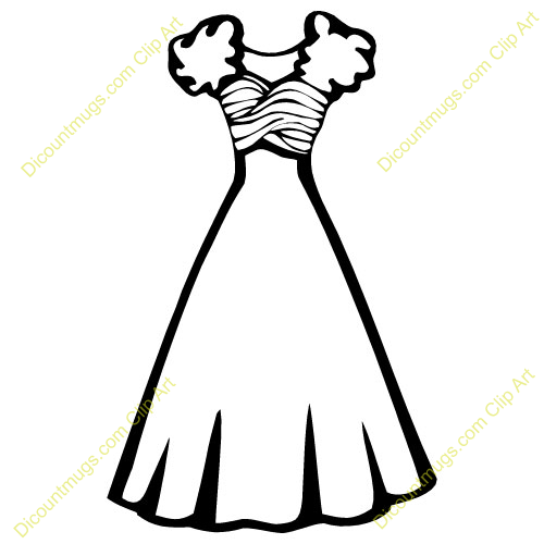 Beautiful dress clipart black and white.