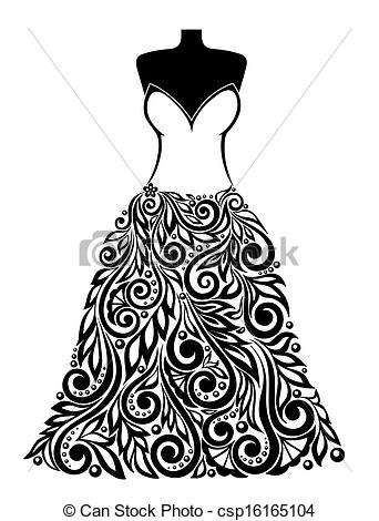 Vector Clipart of Silhouette of a beautiful dress with a floral.