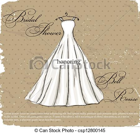 EPS Vector of Vintage poster with beautiful wedding dress. Vector.