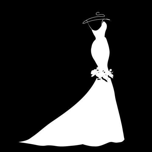 Wedding dress outline clip art.
