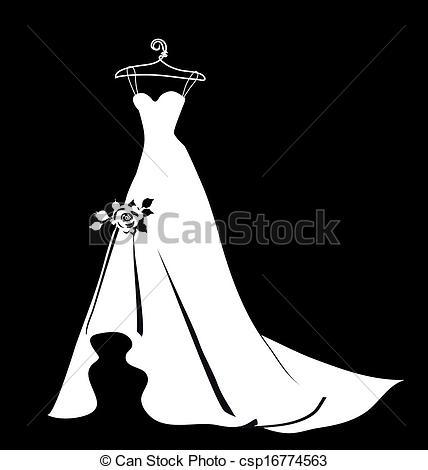 Clip Art Vector of beautiful wedding dress csp16774563.