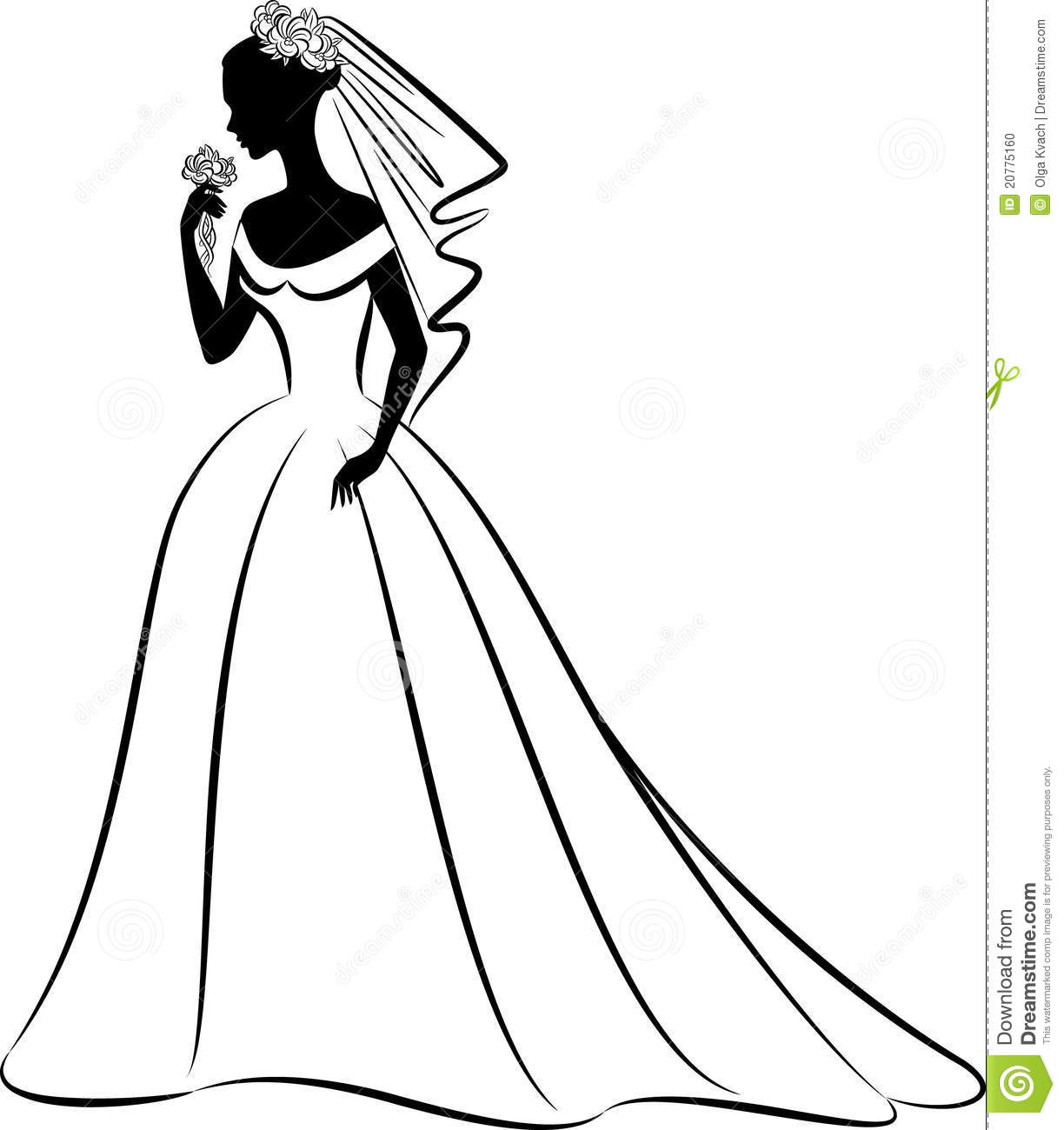 Bridal Dress Silhouette Clipart.