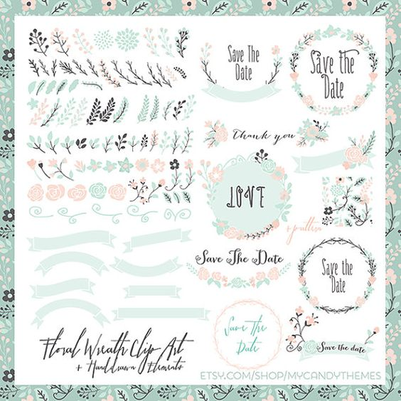Beautiful Floral Wreath Elements Clipart to beautify any modern.