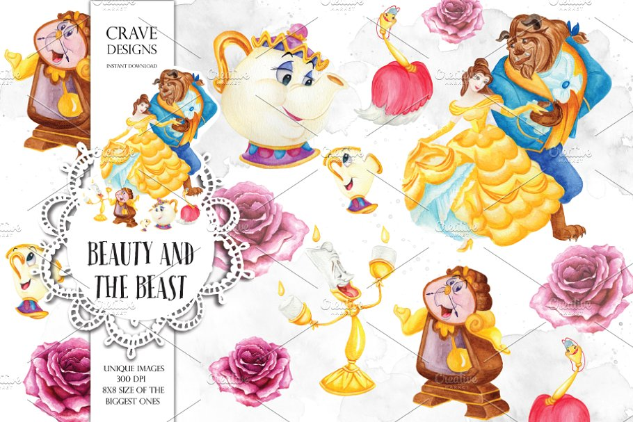 Beauty and The Beast Clip Art ~ Illustrations ~ Creative Market.