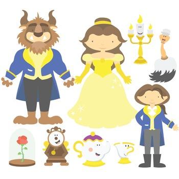 Fairy Tale Beauty And The Beast Digital Clipart & Vector Set.
