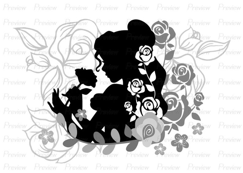 Digital Stamp Belle Beauty and the Beast Flower Disney Princess Girl Rose  Digi Lineart Lady Flowers Rose PNG Clip Art Clipart JPEG.