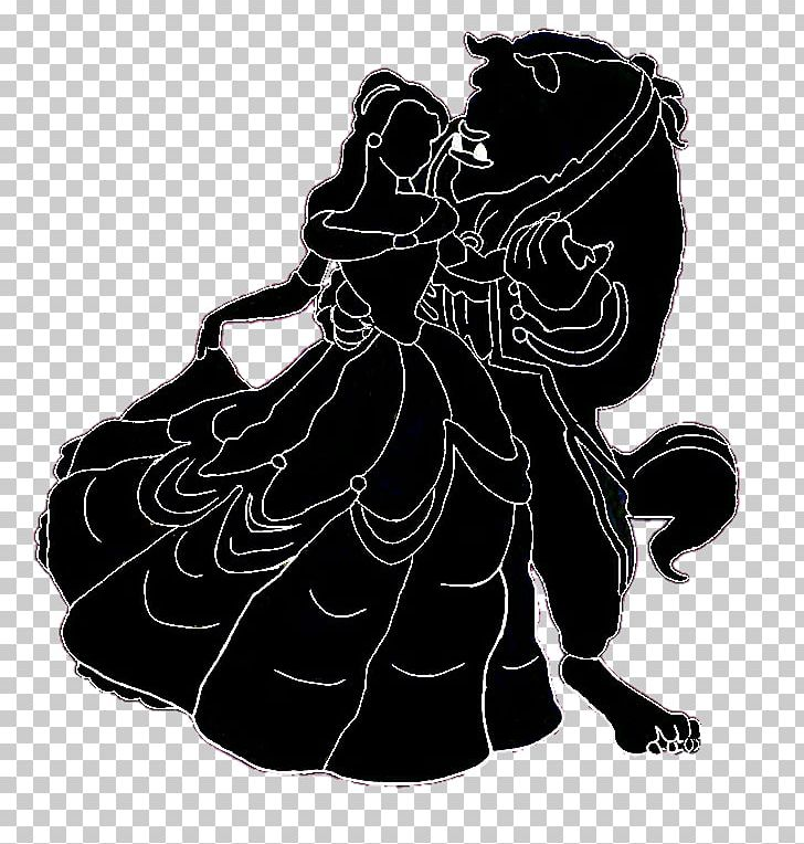 Belle Silhouette Beauty And The Beast Black And White PNG, Clipart.