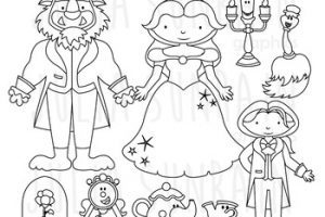 Beauty and the beast clipart black and white 5 » Clipart Portal.