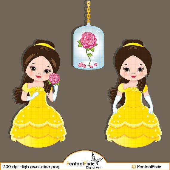 Beauty Beast Clipart, Belle Clipart, Princess Digital Clipart.