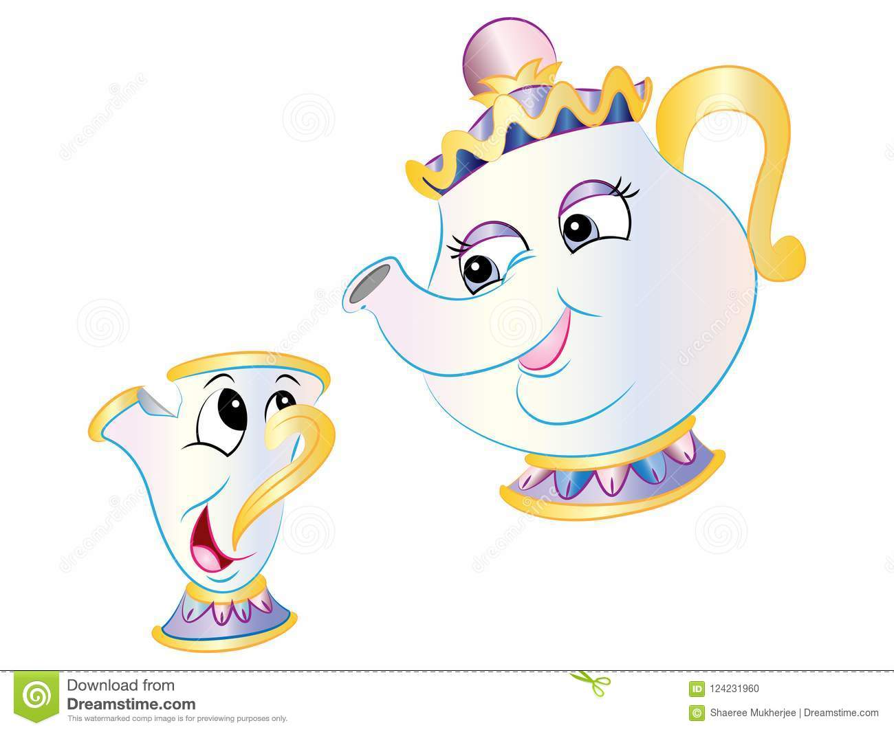 Vector Teapot & Chip From Beauty & The Beast Stock Vector.