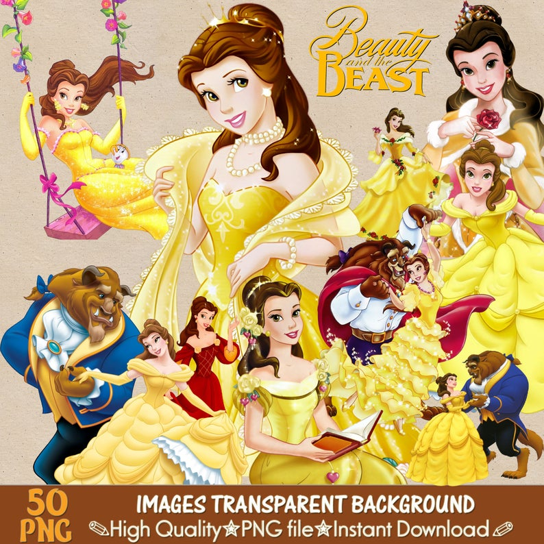 Beauty And The Beast clipart png, digital clipart, digital print, png file,  transparent backgrounds, cartoon clipart, printable images.