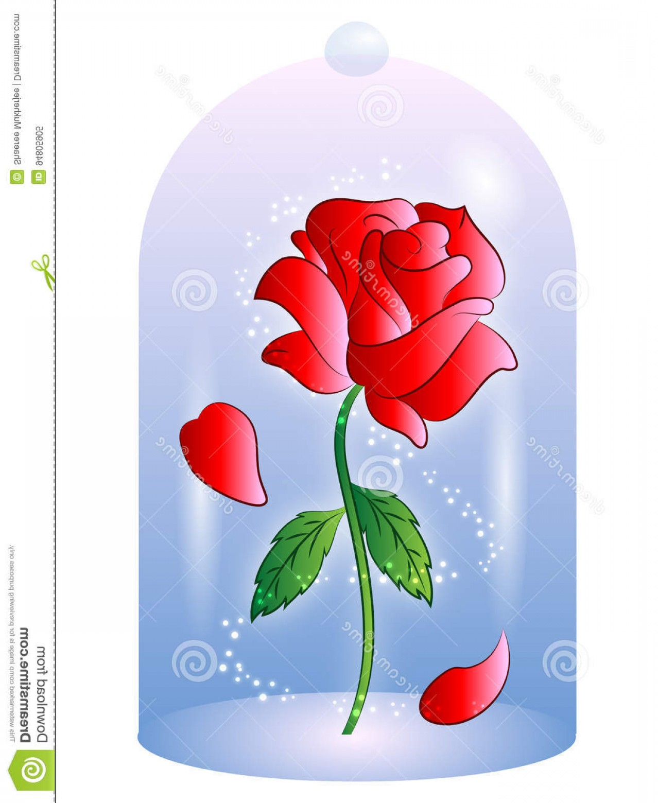 Beauty And The Beast Rose Outline Vector.