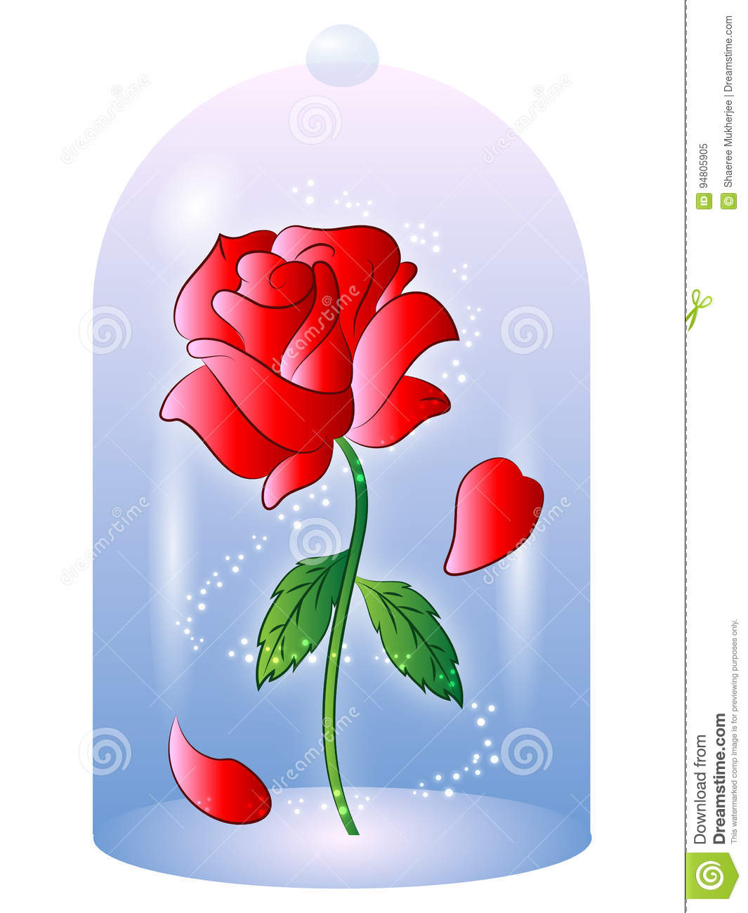 Rose From Beauty And The Beast Vector Illustration Stock Vector.