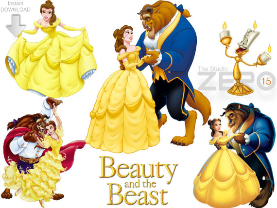 15 Disney Beauty and the Beast Clipart (15 PNG + 15 JPEG + 15 Mirror.