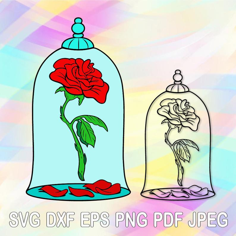 SVG PNG Beauty Beast Rose Layered Cut Files Cricut Designs Silhouette  Studio Vinyl Decal Tshirt Heat Iron on Coloring Pages Transfer Paper.