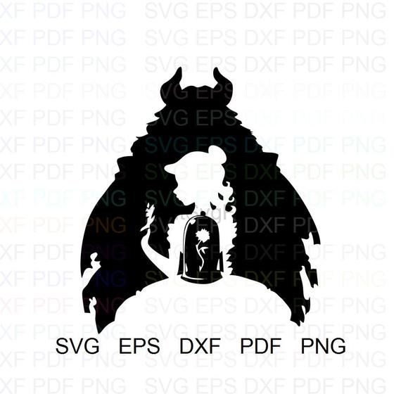 Beauty And The Beast Silhouette Vector Clipart Svg Eps Dxf Pdf Png.
