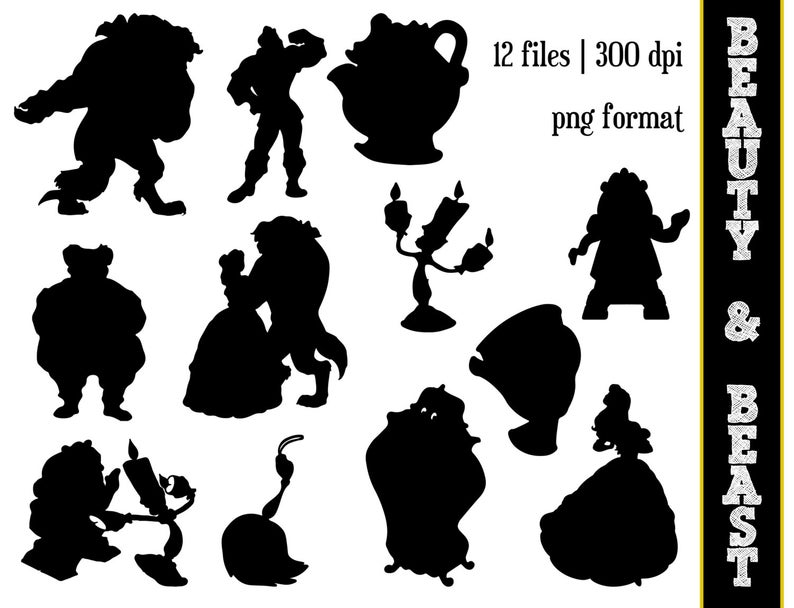 Beauty & the Beast Silhouettes // Disney Princess Belle Silhouette //  Disney Clipart // Beauty and the Beast Silhouettes.