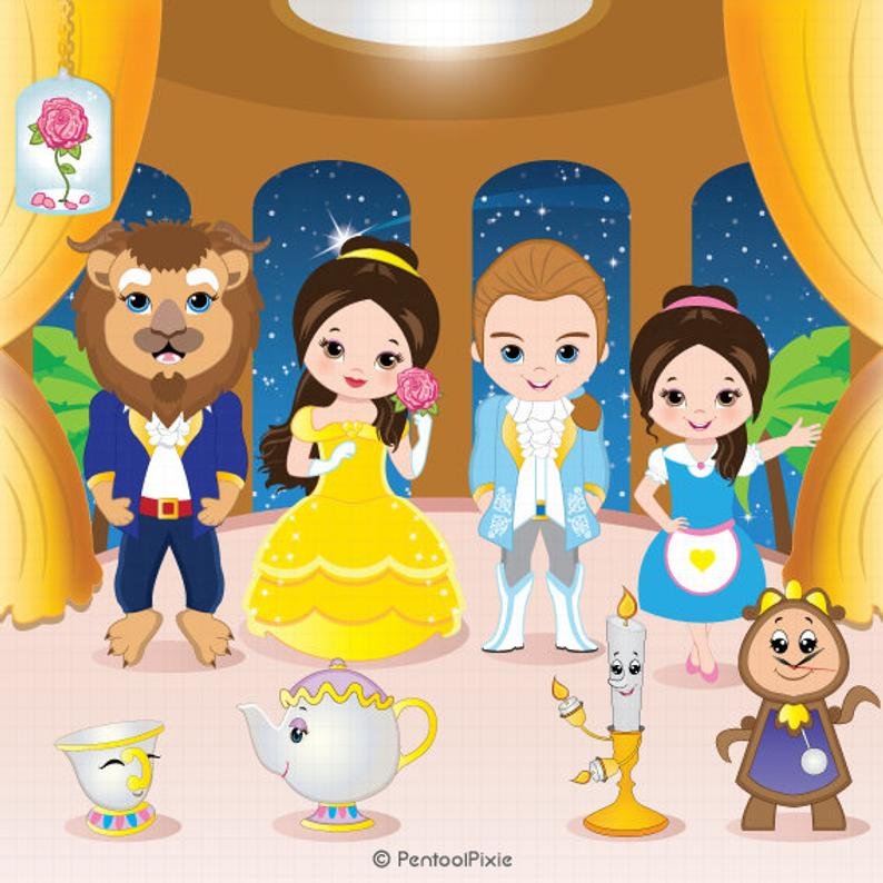 Beauty Beast Clipart, Belle Clipart, Princess Digital Clipart, Princess  Clipart, Princess Belle, Fairytale Clipart.