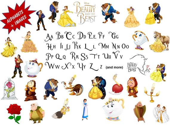 Full Alphabet + 30 BEAUTY and the BEAST Clip Art Images, High Quality,  Transparent Background use for Scrapbooking, Stickers, Party, Banners.