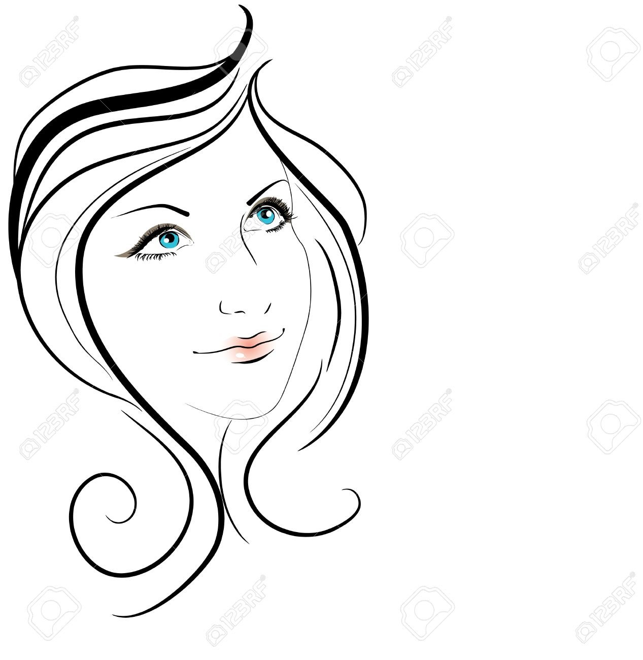Beautiful Face Line Drawing : Beauty clipart clipground