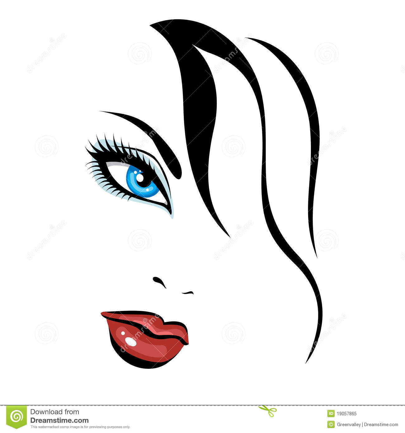beautiful girl face clipart