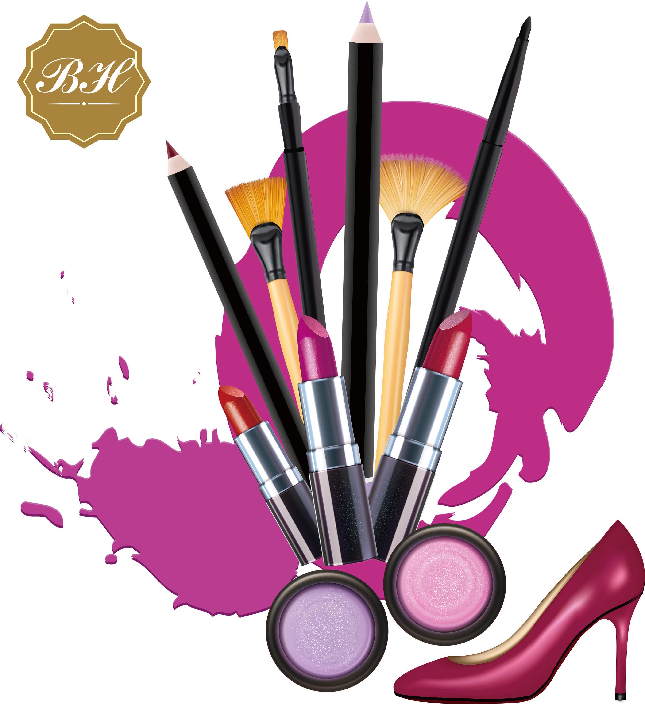 Makeup Clipart, Cosmetics Clipart, Makeup Brush Clipart, Lipstic clipart,  Beauty Clipart, Digital Download, PNG Files.