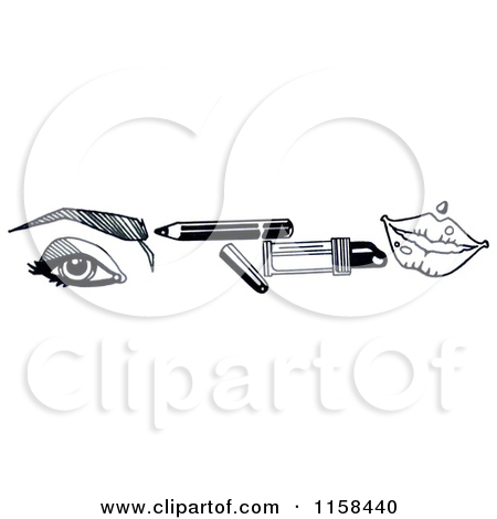 Clipart of a Sketched Black and White Beauty Border of an Eye.