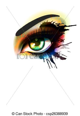 Vectors of Grunge colorful make up eye fashion and beauty concept.