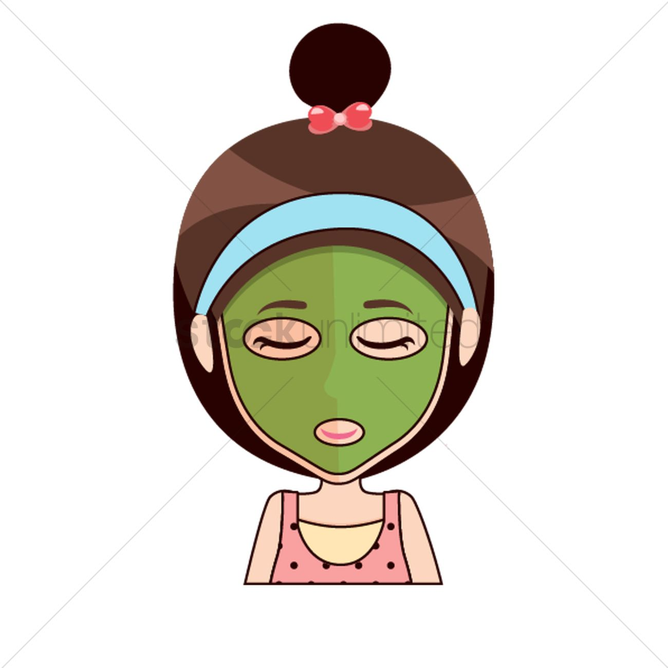 Cartoon girl with beauty mask Vector Image.