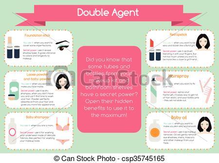 Clip Art Vector of Double agent beauty tips infographic. Hidden.